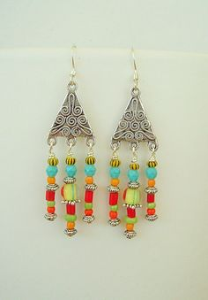 Boho Earrings Bohemian Jewelry Turquoise Jewelry by BohoStyleMe
