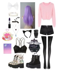 """Pastel Goth #8"" by godfidence ❤ liked on Polyvore featuring Fogal, H&M, WithChic, Kenneth Jay Lane, Bobbi Brown Cosmetics, MAC Cosmetics, Homage, Hot Topic and Hollister Co."