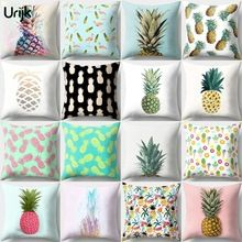 Urijk 1PC Home Cushion Cover for Sofa Fashion Pineapple Fruit Flamingo Pattern Printed Throw Pillow Short Velvet Square Almofada(China)