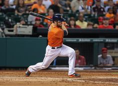 CrowdCam Hot Shot: Houston Astros left fielder Trevor Crowe drives in a run with a single during the fifth inning against the Los Angeles Angels at Minute Maid Park. Photo by Troy Taormina