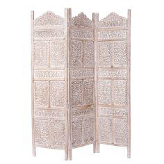 whitewashed mango wood folding screen W Udaipur Udaipur, Hallway Furniture, Small Furniture, Dining Furniture, Barn Bedrooms, Wood Room Divider, Room Dividers, Dining Room Bench Seating, Indian Room