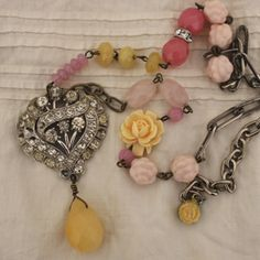 Vintage repurposed necklace  pink yellow. Andrea Singarella