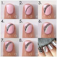Pink Feather Nails Colorful Nail Art Diy How To Designs Manicures Tutorials