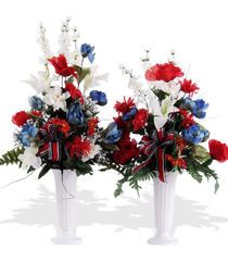 This item is a cemetery cone grave decoration and not suitable for funeral. Red, White & Blue Patriotic Cemetery Cones suitable for any season. As shown is silk, similar look and feel can be made with Fresh flowers. Please select SILK or FRESH...