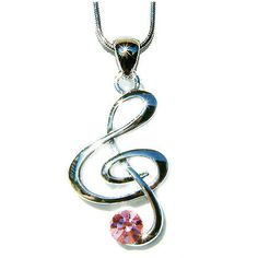 Pink Swarovski Crystal TREBLE G CLEF Love Music Musical Note Charm Pendant Necklace Christmas Gift new on Etsy, $32.00