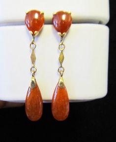 Vintage Estate 14KT Gold Red Jade Drop by Alohamemorabilia on Etsy,