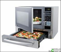 It's hard not to find gadgets being converge these days including microwave ovens! Meet the Stainless Steel Kenmore Microwave and Pizza Oven combo. It functions as both a microwave but also f… New Kitchen Gadgets, Kitchen Tools, Kitchen Stuff, Cool Kitchen Appliances, Dorm Kitchen, Awesome Kitchen, Kitchen Small, Kitchen Utensils, Kitchen Ideas