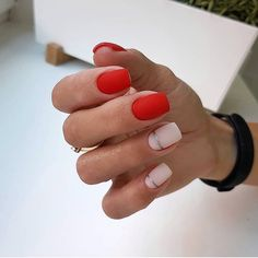Beautiful nails 2018 Classic nails ideas Fashion nails 2018 Novelty of fall nails October nails Original nails Red and pink nails Two color nails Two Color Nails, Nail Colors, Colours, Ten Nails, October Nails, Classic Nails, Chrome Nails, Red Matte Nails, Red Manicure