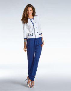 Hose in konischer Form in der Farbe blau - im Madeleine Mode Onlineshop