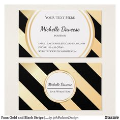 Faux Gold and Black Stripe | Business Card