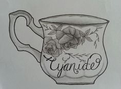 """""""And a cute little cup of cyanide....""""  Tattoo style drawing inspired by the Biffy Clyro song """"Black Chandelier"""" from the Opposite album.  Design is a teacup with roses and leaves on it and cyanide written in italics / calligraphy  Completed with a mechanical pencil, Faber Castell fine liner and Sakura micron pen 005.  art / artist / sketch"""