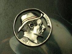 Hobo Nickel by John Demarco — Silhouette (cutout) — with Copper Inlay Hobo Nickel, Buffalo, Copper, Silhouette, Brass, Water Buffalo