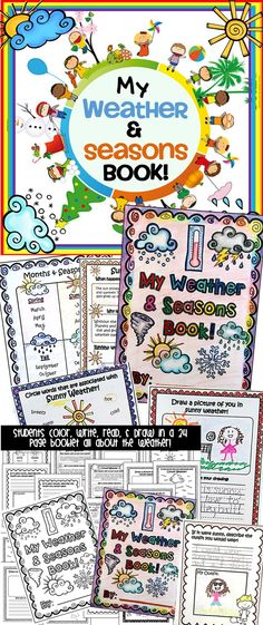 My students are going to love this adorable mini book on Weather and Seasons! 24 page book! So cute!
