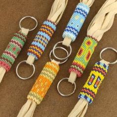 Native American Indian Patriotic Beaded Key Chain by Ralph Gallapoo