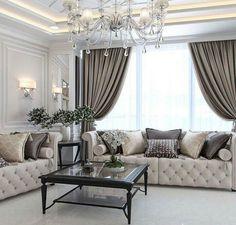 Enhance Your Senses With Luxury Home Decor Glam Living Room, Elegant Living Room, Formal Living Rooms, Home And Living, Living Room Decor, Home Curtains, Luxury Home Decor, Home Decor Inspiration, Design Inspiration