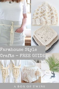 Grab this guide to farmhouse style crafts! It lists seasonal sewing, knitting, and crochet projects loaded with farmhouse style. Get some yarn and ticking stripe fabric handy, then start crafting! #farmhousestyle #seasonalcrafts #craftguide Knitting Patterns Free, Free Pattern, Sewing Patterns, Crochet Patterns, Free Knitting, Ticking Fabric, Ticking Stripe, Fabric Markers, Diy Schmuck