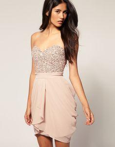 blush pink embellished sequin bustier dress