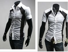 Perfect draping classic short-sleeved shirt Slim design mixed colors three colors (white, black blue) SizeS,M,L $13.16