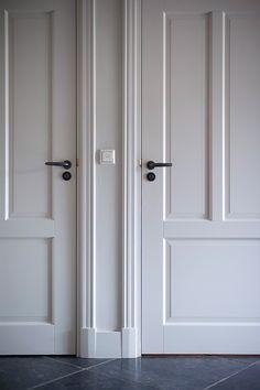 Glass French Doors, Glass Door, Door Design, House Design, Teal Door, Painting Baseboards, Black Door Handles, House Doors, White Doors