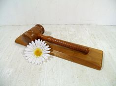 Mid Century Hand Turned Wooden Large Gavel  by DivineOrders