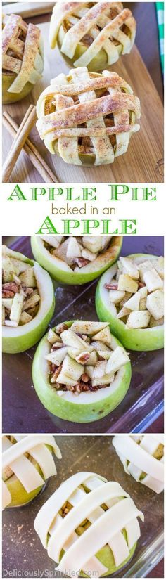 Apple Pie Baked in an Apple | Deliciously Sprinkled. These easy to bake apple pie apples are delicious and are super fun for a holiday party!