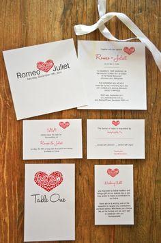 Heart Wedding Invitations  red, simple, modern