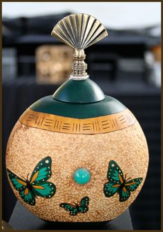 Still Water Designs Gourd Art by Norma - Gourd Dolls, Gourd Masks, Gourd Jewelry, Gourd Boxes Decorative Gourds, Hand Painted Gourds, Farm Crafts, Crafts For Kids, Arts And Crafts, Pumpkin Crafts, Gourd Crafts, Light Bulb Art, Gourd Lamp