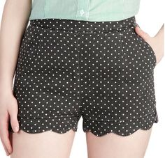 Polka Dot Scalloped Shorts