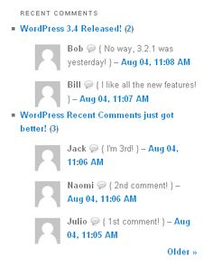 Better WordPress Recent Comments  This plugin displays recent comment lists at assigned locations. Comment lists are updated on the fly when a visitor adds a comment or when you moderate one. Does not add any load for end-users.