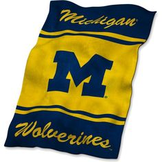 Logo Michigan Wolverines Ultra Soft Blanket, Blue