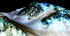 NASA confirms signs of flowing water on Mars.Dark, narrow, 100 meter-long streaks on Mars inferred to have been formed by contemporary flowing water are seen in an image produced by NASA, the Jet Propulsion Laboratory and the University of Arizona Water On Mars, Mars Surface, Life On Mars, Space Photos, University Of Arizona, State University, Water Flow, Space Exploration, The Martian
