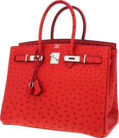 cb9f999c7539 Hermes 35cm Rouge Vif Ostrich Birkin Bag with Palladium Hardware.... Hermes  Birkin