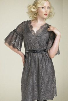 This vintage inspired gray lace dress would be great as a bridesmaid dress. Suitable for all sorts of body types.