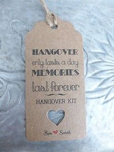 Personalised HANGOVER KIT  Gift Tag Wedding ALCOHOL Favour Bottle Guest Label