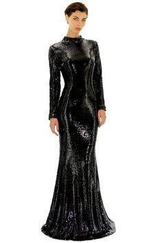 4fd97c395152 Black glitter long dress by Stefanie Renoma. Robe longue sequins  réversibles noirs Stefanie Renoma.