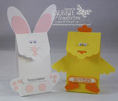 Stampin' Up! Easter Bunny & Chick treat holders using the Scalloped Tag Topper Punch and Punch Art. Debbie Henderson, Debbie's Designs.