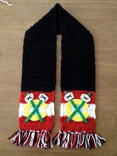 Chicago Blackhawks Crochet Scarf on Etsy, $35.00