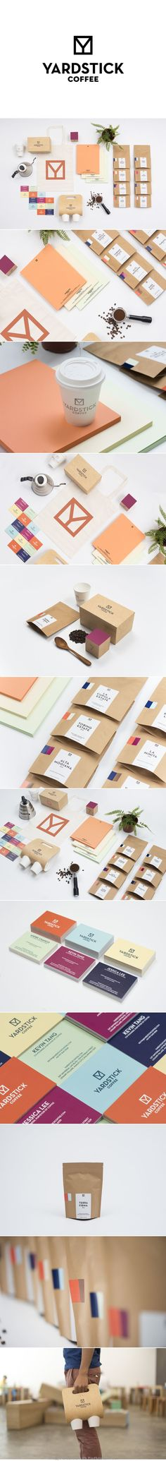Yardstick Coffee brand logo label corporate branding visual graphic identity kraft paper design business card label packaging box colors print packaging nature