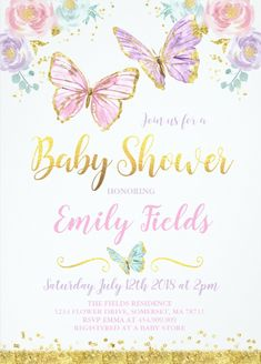 Design your Baby Shower Invitations Girl Baby Girl Shower Invitations baby shower invitations with Zazzle! Browse from our wide selection of fully customizable shower invitations or create your own today! Butterfly Baby Shower, Baby Shower Flowers, Floral Baby Shower, Butterfly Party, Butterfly Decorations, Shower Baby, Baby Girl Shower Themes, Girl Baby Shower Decorations, Baby Shower Princess