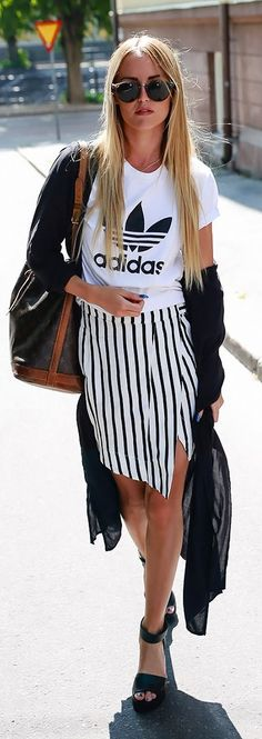 striped wrap skirt with adidas tee - totally street!