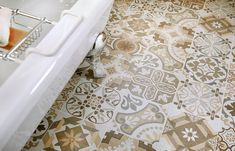 Beige country cottage bathroom tiles from Utopia Bathrooms. Bathroom Floor Tiles, Bathroom Colors, Tile Floor, Bath Shower Screens, Cottage Style Bathrooms, Freestanding Bath, Bathroom Furniture, Baths, Chrome