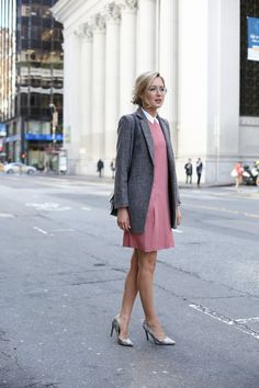 wool blazer with collared dress