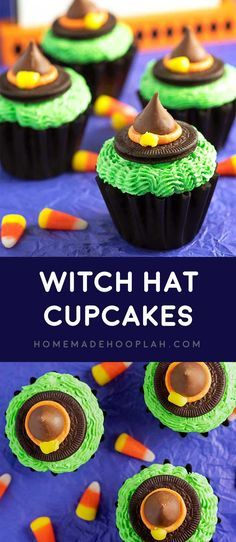 Witch Hat Cupcakes! A festive witchy treat that's easy to make! Made with chocolate cupcakes, colorful buttercream frosting, Oreo Thins, Hershey Kisses, and candy corn pieces. | HomemadeHooplah.com