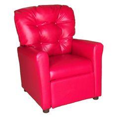 Brazil Furniture 4-Button Back Child Recliner Vinyl Red - 400-VINYL-RED
