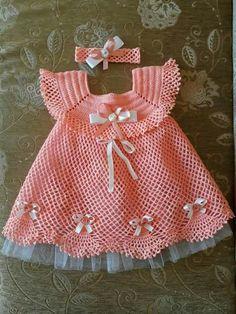 Baby Frock Pattern, Baby Afghan Crochet Patterns, Frock Patterns, Crochet Baby Dress Pattern, Knit Baby Dress, Baby Girl Dress Patterns, Crochet Lace Edging, Baby Girl Crochet, Little Girl Dresses