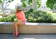 Anna of Fash Boulevard in our Hot Pink DV Sandals! http://tinyurl.com/7ok2cfu