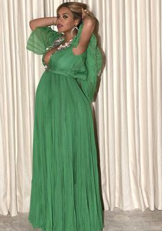 Go glam in a pleated green gown like Beyonce. Click 'Visit' to buy now. #DailyMail