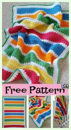 diy4ever -V Stitch Crochet Baby Blanket Free Pattern #crochet #freepattern