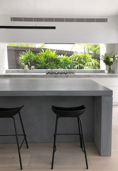 Concrete island bench by SLABS by Design Narrow Kitchen Island, Country Kitchen Island, Stools For Kitchen Island, Modern Kitchen Island, Kitchen Room Design, Kitchen Interior, Kitchen Benchtops, Rustic Industrial Decor, Concrete Kitchen