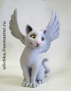 Needle felted cat by Elena - 2 page excerpt from book, not complete tutorial, shows mostly wings Felt Owls, Felt Cat, Felt Animals, Needle Felted Cat, Needle Felted Animals, Polymer Clay Cat, Clay Cats, Needle Felting Tutorials, Felt Mouse